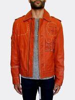 Dirk Bikkembergs Multi-Tasca Pelle Arancione Giacca Medio EU48
