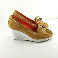 Timberland Womens Tan White Nubuck Leather Slip On Wedge Shoes 6.5