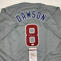 Autographed/Signed ANDRE DAWSON Chicago Grey Baseball Jersey JSA COA Auto