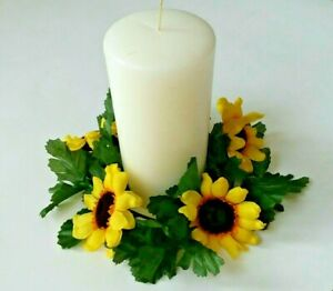 """Sunflower 6.5"""" Candle Ring 3.5"""" Opening Pillar (Silk Flower Only) Home Decors US"""