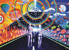 COUPLE PYRAMID Psychedelic Art UV Blacklight Postcard Glow-In-The-Dark Neon Fluo