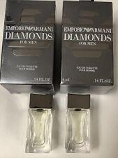 Emporio ARMANI Diamonds 2 Mini EDT for Men TOILETTE Travel size 2 pc NIB