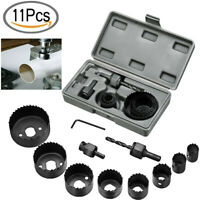 "11pcs Hole Saw Drill Bit Kit Set Mandrel Wood Sheet Metal Plastic 3/4"" to 2 1/2"""