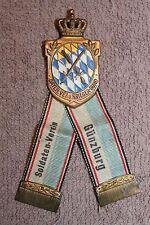 Original WW1 German Veterans Badge w/Ribbons w/Rear Plate, Well Marked