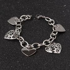 Bracciale da donna a maglia charms ciondoli cuore acciaio 316L - Colore argento