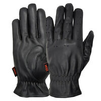 Men's Driving Gloves Bikers Motorcycle Black Cow Leather Men's Police Car Driver
