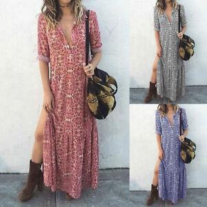 Womens Boho Floral Wrap V Neck Maxi Dress Ladies Long Holiday Beach Sundress UK