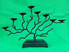 Rustic Style Tree shaped 8 Arm Candle-holder Black Smith Forged 51x10x46 cm Med