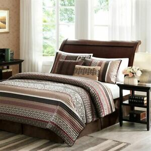 Chic 5pc Brown & Red Geometric Stripes Coverlet Quilt Set AND Decorative Pillows