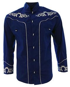 Men's Charro Shirt Camisa Charra El General Western Wear Color Blue Long Sleeve