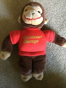 "Vintage 1990 Gund Curious George Monkey 12"" Plush Stuffed Toy Animal Red Shirt"
