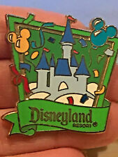 Authentic Disney Disneyland Castle Balloon Green Banner Ribbon Confetti Pin 2010
