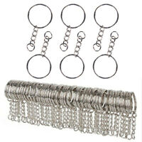 Polished Stainless Silver Keyring Keychain Split Ring Short Chain DIY Jewelry`UK