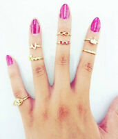 7pcs Punk Love Bowknot Crown Knuckle Midi Mid Finger Stacking Tail Ring Gift Set