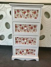 White Chest of Drawers Floral Storage Shabby Chic Hallway Bedroom Bedside Table