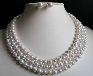 """3 Rows 6MM White Akoya Shell Pearl Round Beads Necklace Earrings Set AAA 17""""-19"""""""