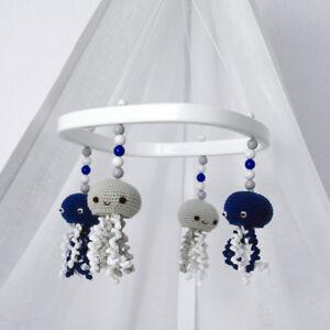 Baby Mobile - Quallenl blau weiß - HANDMADE - für Babybett Stubenwagen Babywiege