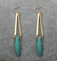Turquoise Earrings Plated Hook Natural Fashion Gold Drop/Dangle Jewelry Women's