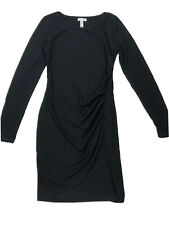 Leith Womens Bodycon Ruched Long Sleeve Dress Black Cotton Blend Sz M