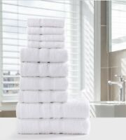 LUXURY 100% EGYPTIAN COTTON TOWEL BALE SET 10PC BATHROOM HAND FACE WHITE GREY