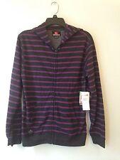 Quiksilver Gray Purple Stripe Hooded Zip Up Sweatshirt Boys Size Large 16-18 NWT