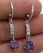 18K White Gold Filled - 1.5'' Round Purple MYSTICAL MYSTIC Topaz Hoop Earrings