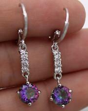 18K White Gold Filled - 1.5'' Round Purple MYSTICAL MYSTIC Topaz Hoop Earrings