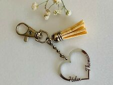 Personalized Heart Keychain 2 Custom Names on Keyring Tassel Gift for Girlfriend