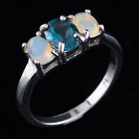 100% NATURAL 7X5MM LONDON BLUE TOPAZ & ETHIOPIAN OPAL SILVER 925 RING SIZE 9