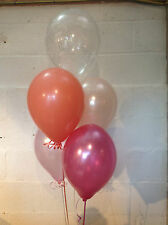 30 Coral, Blush, Pale Pink,  and 'Happy Birthday' Range Pearlised Latex Balloons