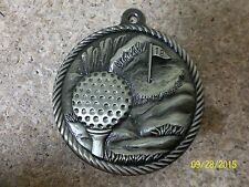"""great 2"""" gold color golf medal with neck ribbon, award, new, guys or girls"""