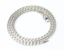 "Beautiful 14K White Gold Thin Viking Weave Necklace Chain 16"" - 3010"