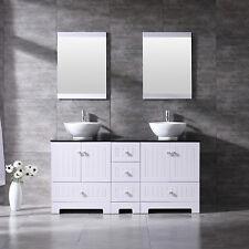 Double Bathroom Vanity Cabinet Ceramic Vessel Sink Drain Faucet w/Mirror Set
