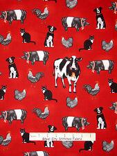 Farm Animal Fabric - Cow Pig Rooster Dog Cat Robert Kaufman #14823 Red - Yard