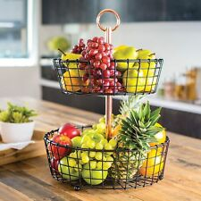 Giftburg Two-Tier Wire Basket Fruit or Bath Room Stand Holder