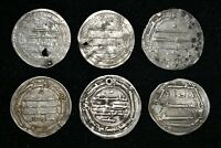 Lot Sale 6 Authentic Ancient Islamic Silver Coins from Umayyad & Abbasid Empire