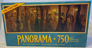 """MB Panorama 750 Piece Jigsaw PUZZLE """"The Golden Wood"""" Over 3 Feet Wide 13""""x 39"""""""