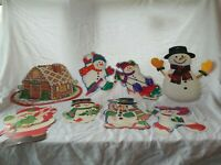 Lot Of 8 Vintage Christmas Paper Decorations Snow Man Santa Gingerbread House