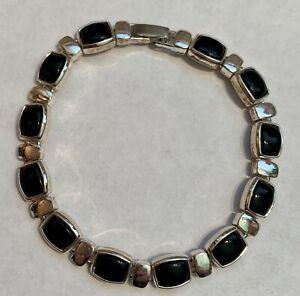 Vintage LIZ CLAIBORNE Black Onyx and Silver Plate Bracelet 7.75  Signed EUC