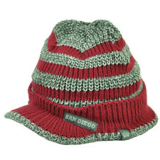 San Diego City Striped Knit Beanie Visor Red Gray Hat Winter USA American Crown