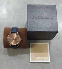 Michael Kors Women's Slim Runway Blue Leather Strap Watch MK2466!