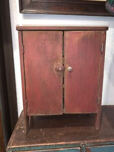 Primitive Antique Early Red Paint 2 Door Pie Safe Cupboard Child's Toy. FABULOUS