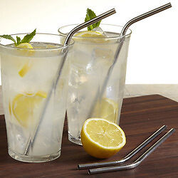 Stainless Steel Straw (slight bend) - set of  4 with free brush