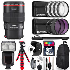 Canon EF 100mm 2.8L IS USM Lens + Professional Flash & More - 16GB Accessory Kit
