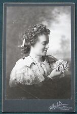 "Woman w Jewelry & Flowers ""Cynthia Barr"" antique cabinet photograph"