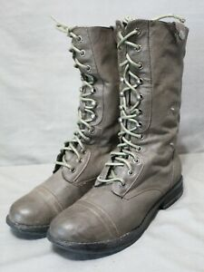 MADDEN GIRL lace up side zip up dark gray low heel combat boots size 8.5 Medium
