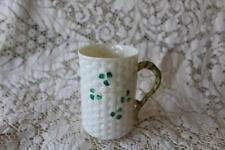 Belleek Ireland SHAMROCK Basket Weave Irish Coffee Mug Cup 2nd Green Mark