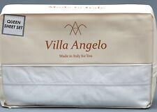VILLA ANGELLO WHITE 100% Cotton Embroidery Piping QUEEN Sheet Set