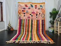 "Boujad Handmade Tribal Moroccan Rug 5'5""x8'9"" Striped Colorful Berber Wool Rug"