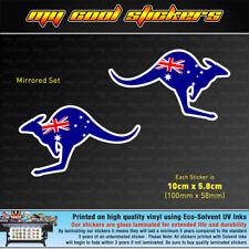 2 x 10cm Aussie Flag Kangaroo Vinyl Sticker Decal car ute 4x4 window Australia